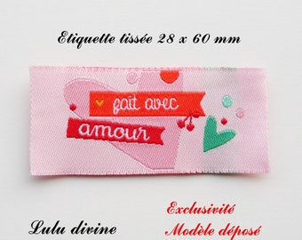 Woven - label made with love - 28 x 60 mm, pink heart