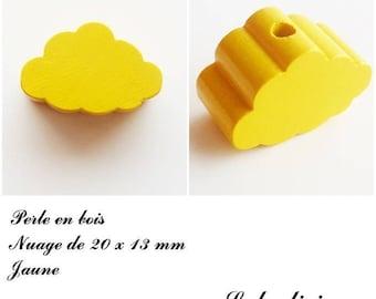 20 x 13 mm wood bead, Pearl flat cloud: yellow