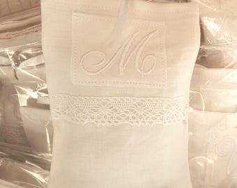 Lavender with lace and Monogram sachet