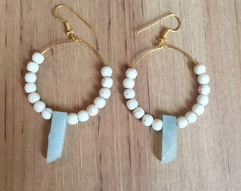 Light blue crystal hoop earrings