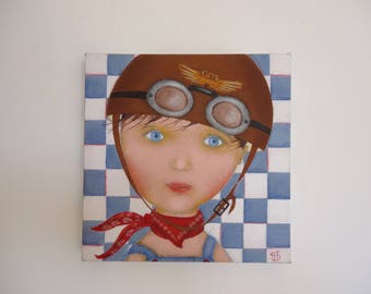 "Painting-wall decor for baby/child's room ""the little biker""."