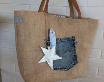 Vintage burlap bag - art-bella