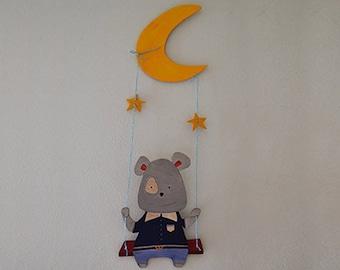 Wooden swing baby bear-wall mural