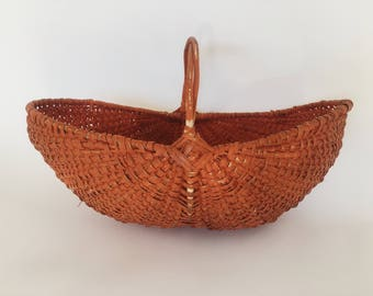 Large Vintage Woven Wicker Seagrass Gathering Basket With Handle Orange