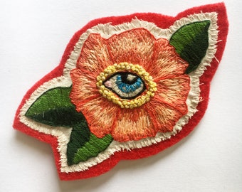 All Seeing Eye Flower - hand embroidered patch