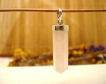 Sterling Silver and rose Quartz.