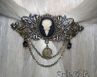 Steampunk hair clip with Crow's skull