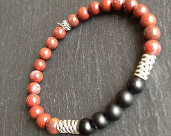 Mens bracelet Aries, Taurus, Leo, Sagittarius, Capricorn, black onyx and Red Jasper gemstones