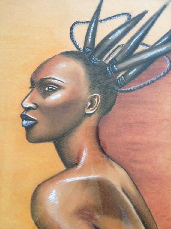 grand tableau femme africaine et haute coiffure. Black Bedroom Furniture Sets. Home Design Ideas