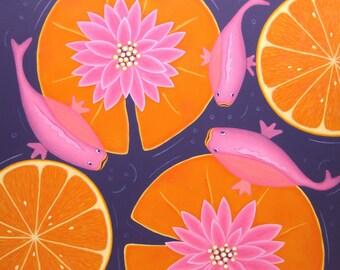 Water lilies, acrylic painting, fish, Koi fish pond