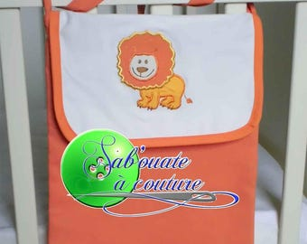 Embroidered Pajama with a yellow/orange lion purse bag