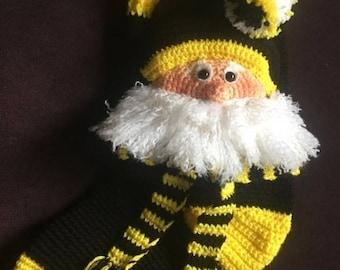 Santa Stocking, Black and Gold Santa, Christmas Stocking, Crocheted Stocking, Keepsake Stocking, Handmade Stocking