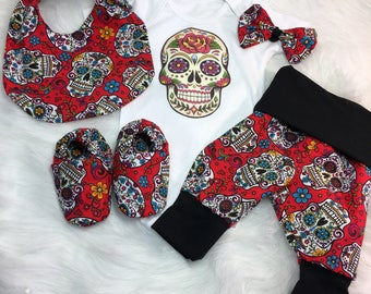Dayofthedead/babysets/takemehome/babyskulls/tattoobabyclothes/halloween