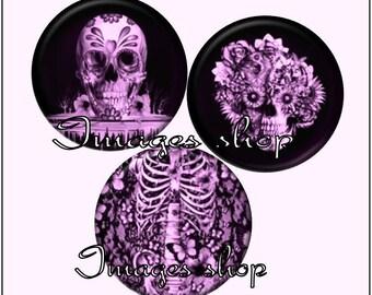 Envoi gratuit ! Images digitales SKull en noir et rose, gothique crânes