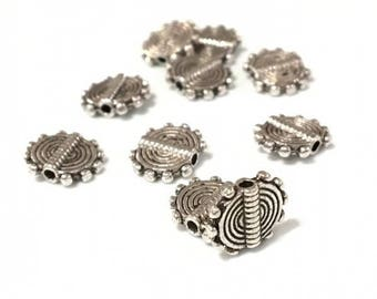 X 30 beads metal flat 9.5 mm