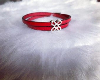 Leather Bracelet double turn red - magnetic clasp