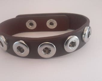 BBracelet in Brown Leather Brown dark for mini 12mm snap buttons.