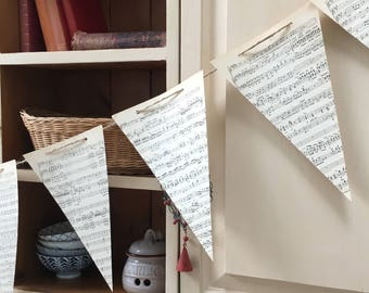Musical note garland. Wedding decor for music lover. Banner of upcycled pennants from vintage book. Shabby Chic bunting for shop dressing
