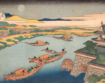SEMI-rigid PLACEMAT, ORIGINAL, AESTHETIC WASHABLE and durable - Hokusai. Boats in the moonlight.