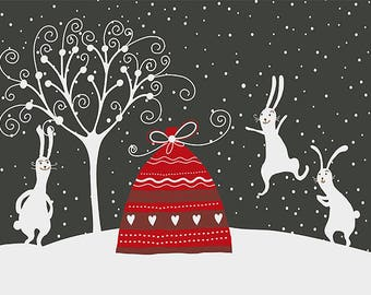 ORIGINAL design, WASHABLE and durable TABLE SET - happy bunnies in snow - classic.