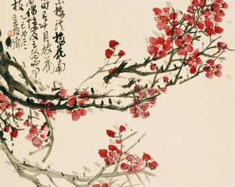 SEMI-rigid PLACEMAT, ORIGINAL design, WASHABLE and durable - Chinese Art. Tree with red flowers.