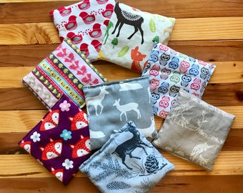 FREE SHIPPING, Organic Rice Pack, Toddler First Aid, Rice Bag, Cold Pack, Heat Pack, Microwave Heat Pack, Baby, Rice Therapy Bag, Woodland