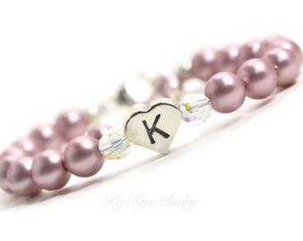 Baby Initial Bracelet Heart Baby Bracelet Personalized Bracelet for Girls Pearl Baby Bracelet FREE Gift Box Keepsake Bracelets for Kids
