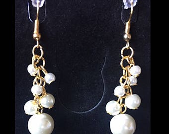 Cascade earrings, glass beads