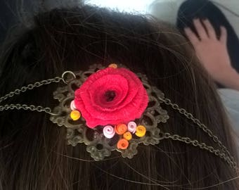 Head band red flower