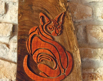 Figurative painting of a solid wooden cat cut