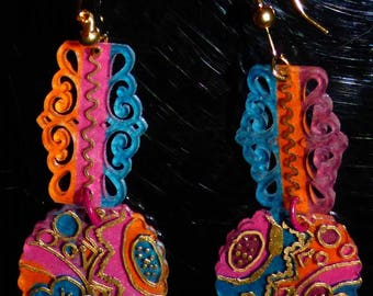 Earrings made of shrink plastic, colorful