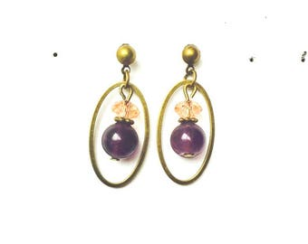 Pink and Amethyst Crystal brass earrings
