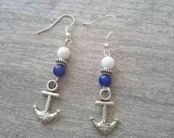 Earrings dangle anchor Navy Blue ❤ pearls handmade
