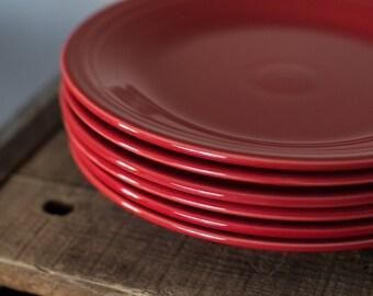 """Vintage Fiestaware Fiesta Ware Dinner Plates 10.5"""" (set of 6)  Scarlet Red"""