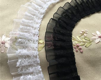 "High quality 5cm 1.97"" pleated chiffon lace trims bridal dress lace fabrics IVORY BLACK x1yrd BYDC089"