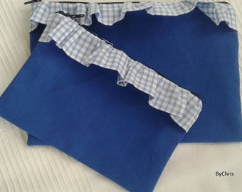 Medium wheel canvas roy, gingham blue fabric pouch sky