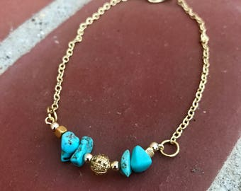 Turquoise and Gold and Anklet