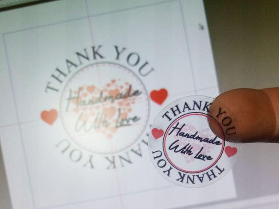 Handmade with love translucent decal sticker - Clear polyolefin film sticker to say thank you to customers, 40 units per sheet