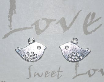 16x13mm silver birds set of 5 pieces