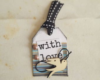 Beautiful Gift tags, With Love Gift Tags, Bird Gift Tags, Gift tags Handmade - Set of 4