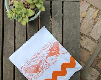 Bye Bye Birdie Tea Towel (100% Cotton, Hand Printed)