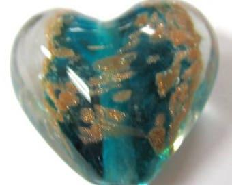 4 pieces Lampwork Heart Glass Beads - 20mm - A3918