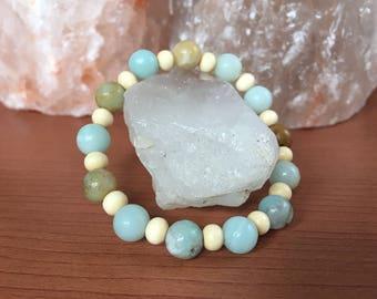 amazonite and wood bead elastic bracelet