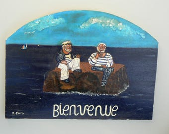 Original acrylic painting on wood: welcome: sailors on island deserted
