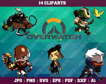 Overwatch Clipart – 14(Svg, Eps, Png, Jpg Files)– Overwatch Decoration – Overwatch Printable – Overwatch Birthday – Overwatch Party Supplies