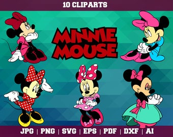 Minnie Mouse Clipart – 10(Svg, Eps, Png, Jpg Files) – Minnie Decoration – Minnie Printable – Minnie SVG – Minnie Party – Instant Download