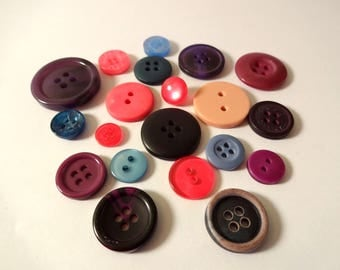 20 buttons - pink, purple, blue - sewing - scrapbooking