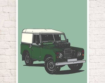 Land Rover Limited Edition Series III Art Print/Poster - Hand Drawn Design