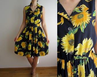 vintage 80s dress flowers sleeveless summer dress S M