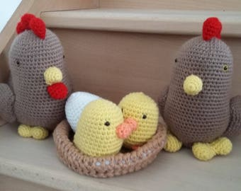 Vegan crocheted chicken family